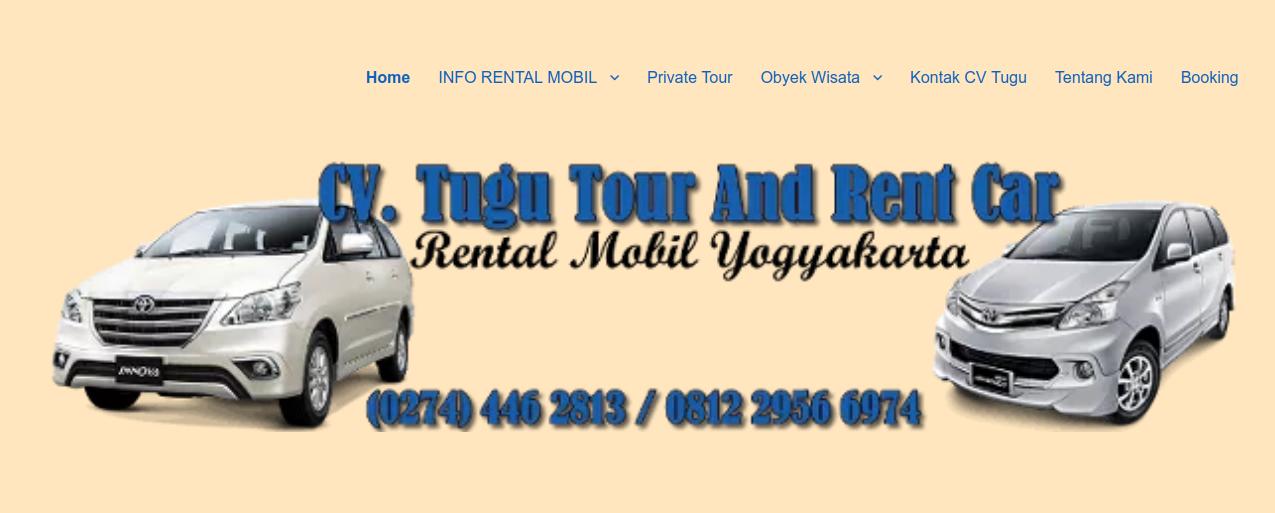 tampilan website rental mobil cv tugu tour & rent car jogja