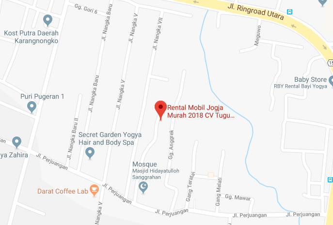 tampilan peta di google maps untuk rental mobil jogja kami