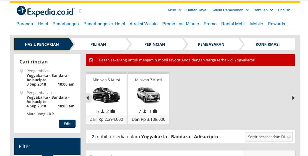 Halaman Rental Mobil dari Expedia
